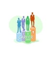 Silhouettes of business people standing on graph vector image