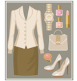 Fashion set with a blouse and a skirt vector image vector image