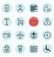 set of 16 traveling icons includes locate vector image
