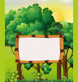border template with forest background vector image