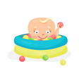 cute cartoon baby playing in a pool with colorful vector image