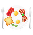 fried eggs on a plate vector image vector image