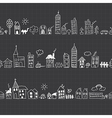 Cityscape seamless borders vector image