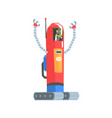 cute red cartoon robot postman character vector image