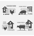 farm chicken pork and cow vector image