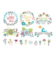 Hand drawn wedding graphic Flowers and wreaths for vector image