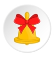 Bell with red bow icon cartoon style vector image