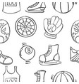 doodle of sport equipment various pattern vector image