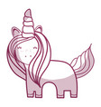 silhouette beautiful unicorn with horn and mane vector image