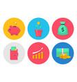 money flat icons set vector image
