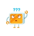 Puzzled Little Robot Character vector image