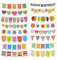 bunting flags kid party decoration vector image