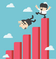 businessman kick fall from the graph vector image