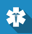 emergency star - symbol caduceus snake with stick vector image