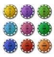 Poker chips set isolated on white background vector image