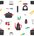 seamless pattern with hand drawn kitchen utensils vector image