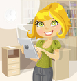 Pretty business woman in office with tablet vector image vector image