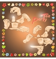 Cup hands cookies and words Tea Party vector image
