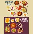 mediterranean and asian cuisine icon set design vector image vector image