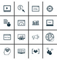 set of 16 seo icons includes connectivity vector image
