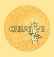 creative ideas concept line art hand with pencil vector image