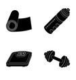 a dumbbell a rug and other equipment for training vector image