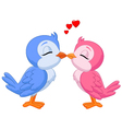two love birds kissing vector image vector image