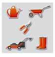 gardening tools stickers vector image vector image