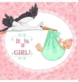 Baby greetings card with stork and girl eps10 vector image