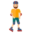 Sporty man on rollerblades vector image