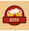 beer mugs foam clinking red label vector image