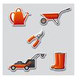 gardening tools stickers vector image
