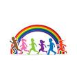 little boy and girl running group of children run vector image