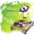 Music background with hand drawn and dance girl vector image