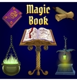 Open magic book and set of fairy tale elements vector image