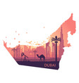 skyline of dubai with camel in the form of a map vector image