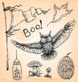 Vintage Hand Drawn Halloween Set Five vector image