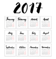 Calendar 2017 Year Cards With Hand Drawn Month vector image
