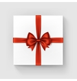 White Square Gift Box with Red Bow and Ribbon vector image