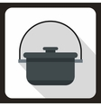 Cooking cauldron icon flat style vector image