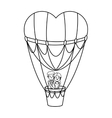 Hot air balloon and heart design vector image