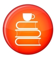 Stack of books and white cup icon flat style vector image