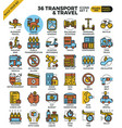 transport logistic travel outline icons vector image