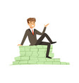 happy rich successful businessman character vector image vector image
