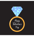 Wedding ring with blue diamond Valentines Day card vector image