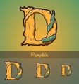 Halloween decorative alphabet - D letter vector image