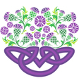 Celtic knot in the form of a basket with flowers vector image