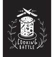 Cooking Battle Sign and Label Monochrome Design vector image vector image