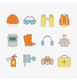 set of safety work icons including tools vector image