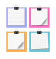 Set of four white sticky notes vector image